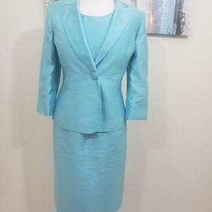 Women 2PC Stunning Turquoise Blue Dress Suit